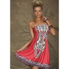 Female Fashionable Strapless Dress - Watermelon Red + Grey