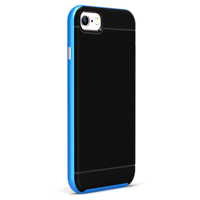 Protective Plastic Back Case for IPHONE 7 - BluePlastic Cases<br>Form  ColorBlueQuantity1 DX.PCM.Model.AttributeModel.UnitMaterialPC + TPUCompatible ModelsiPhone 7DesignMixed ColorStyleBack CasesPacking List1 * Case<br>