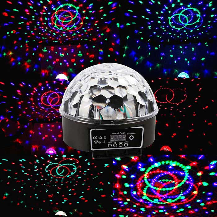 JIAWEN 18W LED Crystal Magic Ball Stage Light for KTV Disco, Dmx-512