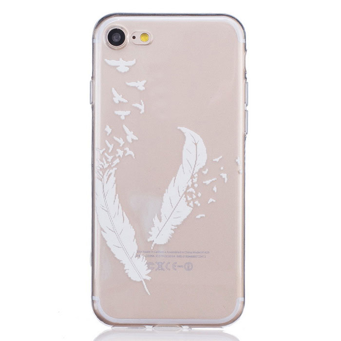 Feather Pattern TPU Protective Back Case for IPHONE 7 - Transparent