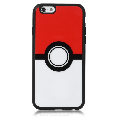 KICCY Poke Ball Pattern TPU + PC Case for IPHONE 6 / 6S - White + Red