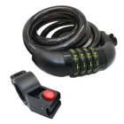 Wire Rope, Four Passwords, Dicycle Anti-theft Lock - Black