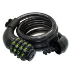 Wire Rope, Four Passwords, Bicycle Anti-theft Lock - Black