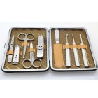 GS908 9-in-1 Stainless Steel Manicure Tool Set - Brown