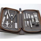 GS906 9-in-1 Stainless Steel Manicure Tool Set - Dark Brown
