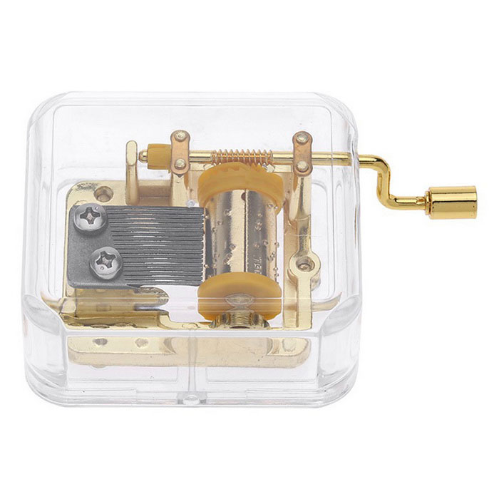 Unique Musical Box Acrylic Hand Crank Movement Melody Music Box - GoldInstruments Parts<br>Form  ColorGolden + Transparent (Happy Birthday)MaterialAcrylic + metalQuantity1 DX.PCM.Model.AttributeModel.UnitShade Of ColorGoldCompatible ModelsN/AOther FeaturesItem Name: Hand crank acrylic music box<br>Material: Acryl and metal<br>Melody: Happy Birthday<br>Shape: Cubic<br>Rhythm: 18 notesPacking List1 * Music box<br>
