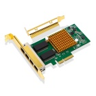 I350-T4 PCI-E to 4 Port Gigabit Ethernet Networking Card - Green + Gold