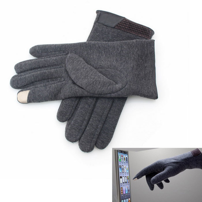 Stylish Nylon Two Finger Capacitive Screen Touching Gloves - Gray
