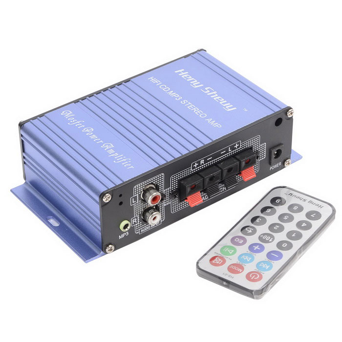 CARKING Hi-Fi Stereo Output Card Power Amplifier USB / SD Card PlayerCar Amplifiers<br>Form  ColorBlueModelN/AQuantity1 DX.PCM.Model.AttributeModel.UnitMaterialAluminium alloyShade Of ColorBlueScreen SizeNo DX.PCM.Model.AttributeModel.UnitAmplifier ClassAFunctionMP3 PlayerFM Frequency20 DX.PCM.Model.AttributeModel.UnitSingnal CompatibleMP3Frequency Response Range20Hz~20kHzNumber of Channels2Rated Power35 DX.PCM.Model.AttributeModel.UnitInput Power35 DX.PCM.Model.AttributeModel.UnitInput Impedance4~8ohmPeak Power Output35 DX.PCM.Model.AttributeModel.UnitOutput load4-8 DX.PCM.Model.AttributeModel.UnitTHD0.05%SNR88dBSensitivity220mV / 47KRemote ControlYesPower Supply12 DX.PCM.Model.AttributeModel.UnitInterface/PortUSB 2.0,SD card slotExternal Memory Max. Support16 DX.PCM.Model.AttributeModel.UnitApplicationcar,motorcycle,golf cart,BoatPacking List1 * Amplifier1 * Remote control<br>