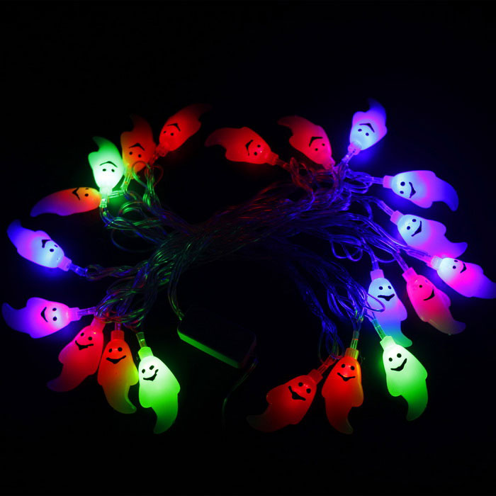 16.6ft LED cadena de multi-color de 20-LED y las luces del centelleo fantasma blanco