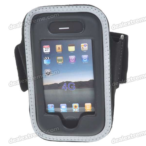 Trendy Sport PU Armband for Iphone 4 - Black