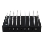 8 Port USB Charger Multi-Function USB Charging Station - Black