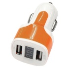 Dual USB 12-24V 3.1A Car Charger w/ Voltage Display - Orange + White
