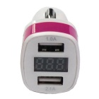Dual USB 12-24V 3.1A Car Charger w/ Voltage Display - Dark Pink+ White