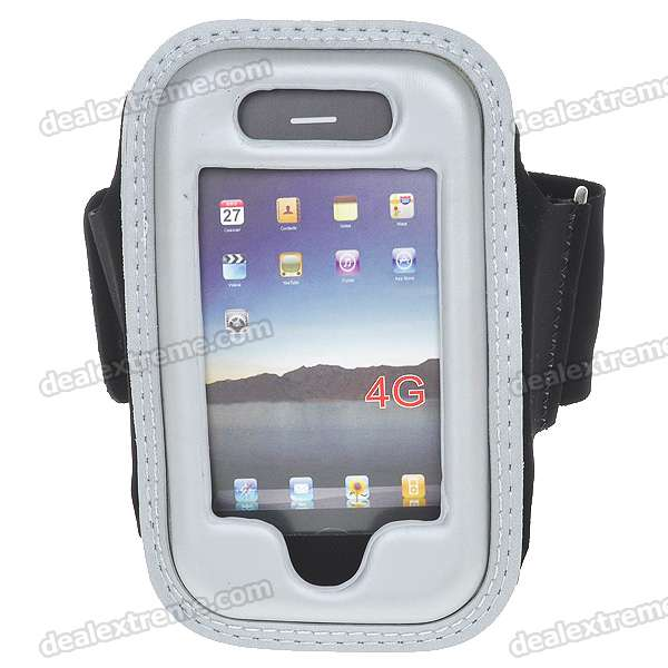 Trendy Sport PU Armband for Iphone 4 - Silver
