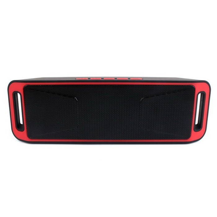 S816 Wireless Bluetooth Speaker w/ Hands-free / FM - Red + BlackBluetooth Speakers<br>Form  ColorRed + BlackModelS816MaterialABSQuantity1 DX.PCM.Model.AttributeModel.UnitShade Of ColorRedBluetooth HandsfreeYesBluetooth VersionBluetooth V3.0Operating RangeBarrier-free 10 metersTotal Power6 DX.PCM.Model.AttributeModel.UnitInterface3.5mm,USB 2.0,AuxMicrophoneYesSNR80dBSensitivity83dB+/-3dBFrequency Response100hz-16khzImpedance4 DX.PCM.Model.AttributeModel.UnitApplicable ProductsUniversalRadio TunerYesFM Frequency87.5-108MHzSupports Card TypeMicroSD (TF)Max Extended Capacity32GBBuilt-in Battery Capacity 1800 DX.PCM.Model.AttributeModel.UnitBattery TypeLi-ion batteryMusic Play TimeMedium volume 6 hours or so DX.PCM.Model.AttributeModel.UnitPower AdapterUSBPacking List1 * S816 speaker1 * Audio line(45cm)1 * Cable(45cm)<br>