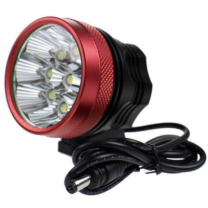 Super 9LED RD Water Resistant 3-Mode White LED Bike Light for BicycleBike Lights<br>Form  ColorBlack + Red + Multi-ColoredModel9LED RDQuantity1 DX.PCM.Model.AttributeModel.UnitMaterialPlastic shellEmitter BrandCreeLED TypeXM-LEmitter BINT6Number of Emitters9Color BINNeutral WhiteWorking Voltage   8.4 DX.PCM.Model.AttributeModel.UnitPower Supply6x18650Current0.5 DX.PCM.Model.AttributeModel.UnitTheoretical LumensN/A DX.PCM.Model.AttributeModel.UnitActual LumensN/A DX.PCM.Model.AttributeModel.UnitRuntime3 DX.PCM.Model.AttributeModel.UnitNumber of Modes3Mode ArrangementHi,Mid,Slow StrobeMode MemoryNoSwitch TypeReverse clickyLensGlassReflectorNoFlashlight MountingHandlebar and HelmetSwitch LocationTailcapBeam Range300 DX.PCM.Model.AttributeModel.UnitOther FeaturesAC 100~250V  US charger(length:80cm)Packing List1 * Battery pack2 * Rubber O-rings1 * AC 100~250V  US charger(length:80cm)1 * Adjustable head mount band<br>