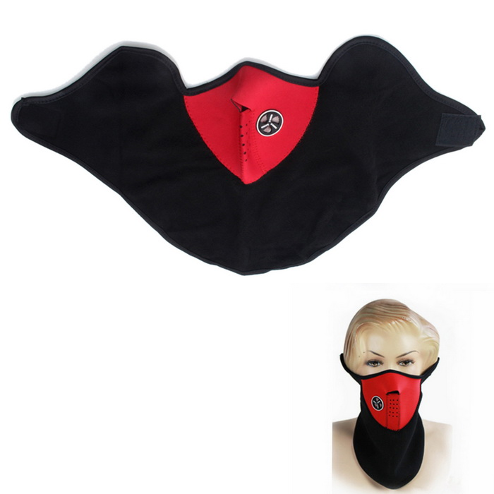 Motorcycle Sports Warm Neck Face Mask Veil Guard - Red + Black