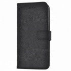 Lichee Pattern PU Leather Case w/ Stand/Card Slots for iPHONE7 - Black