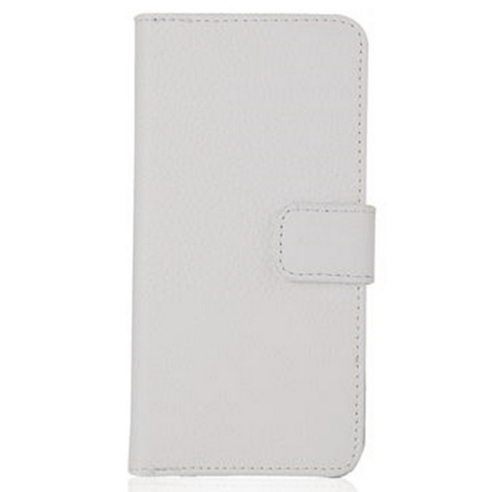 Lichee Pattern PU Leather Case w/Stand/Card Slots for IPHONE 7 - White