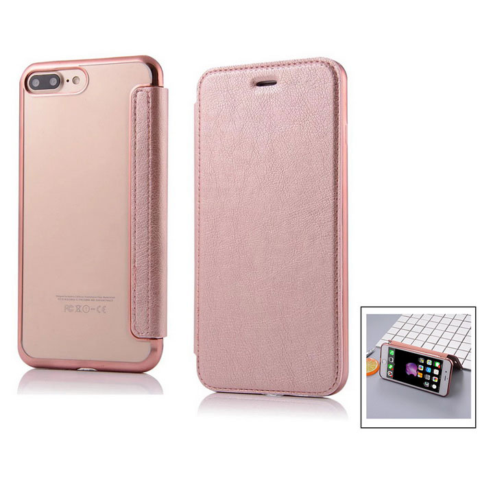 Flip Open PU Leather Case w/ Card Slots for IPHONE 7 Plus - Rose Gold