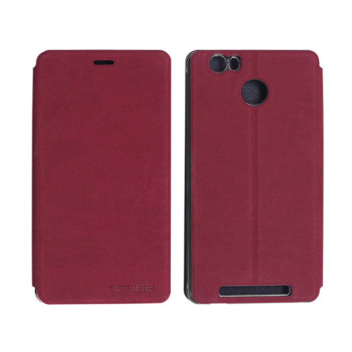 OCUBE PU Leather Case for Leagoo Shark 1 Mobile Phone - Wine Red