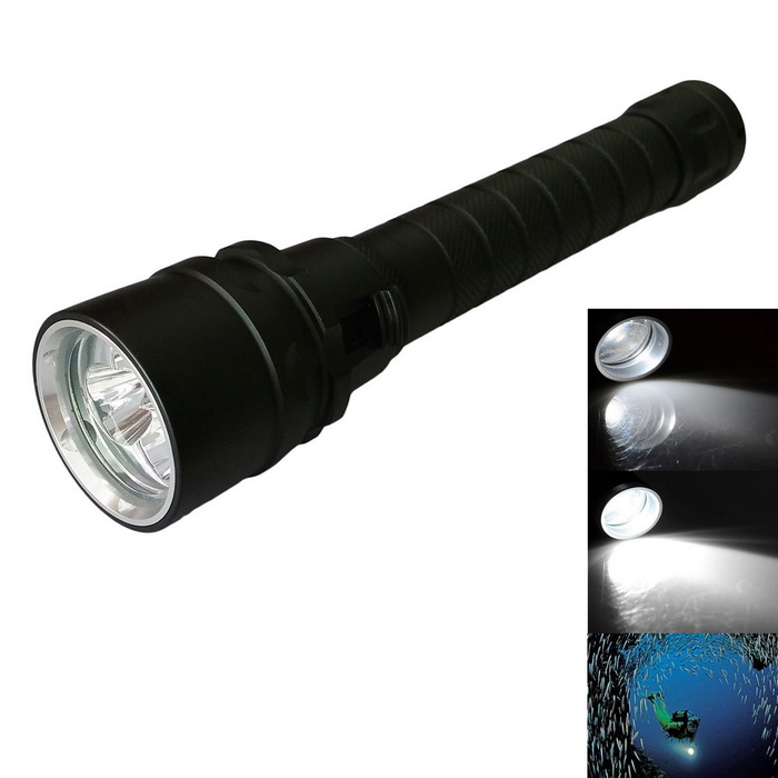 3L2 Zooming 3-LED Cold White Waterproof Diving Flashlight with BatteryDiving Flashlights<br>Form  ColorBlackModel3L2Quantity1 setMaterialAluminum alloyEmitter BrandCreeLED TypeXM-LEmitter BINT6Color BINNeutral WhiteNumber of Emitters3Theoretical Lumens3000 lumensActual Lumens2400 lumensPower Supply2 x 18650 (included)Working Voltage   3.7-8.4 VCurrent2.5 ARuntime2-3 hoursNumber of Modes1Mode ArrangementOthers,ZoomingMode MemoryNoSwitch TypeForward clickySwitch LocationSideLens MaterialGlassReflectorAluminum Textured,NoWorking Depth Underwater50-100 mStrap/ClipStrap includedOther FeaturesStrap Length: 50cmPacking List1 * Flashlight1 * Strap Length: 50cm<br>