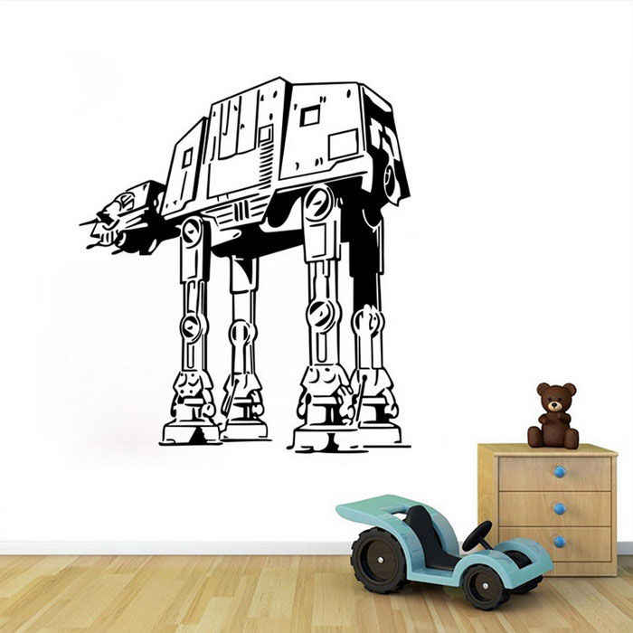 Removable diy 3d stereo star wars robot decorative wall sticker for Stickers para dormitorios