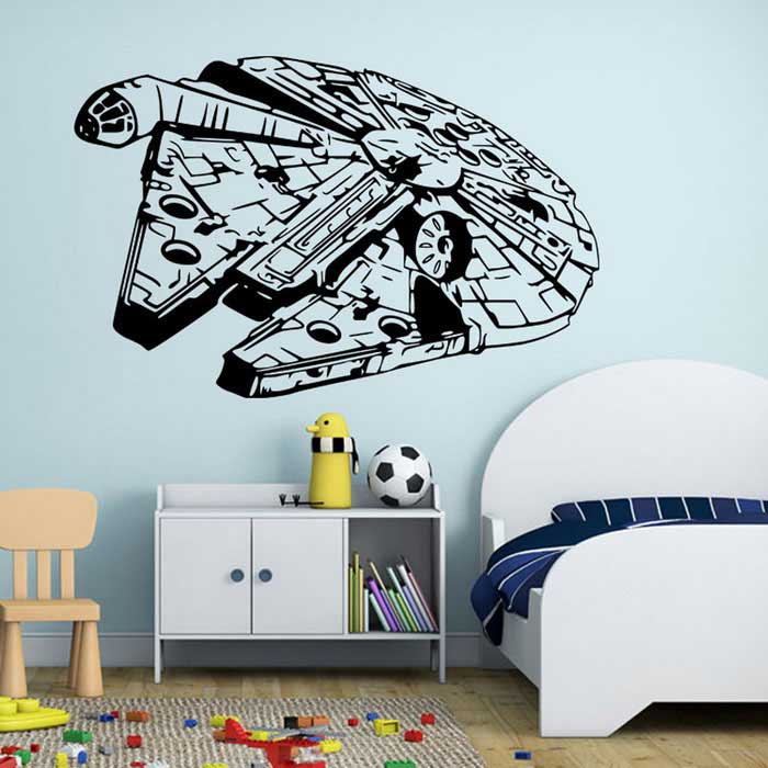 Removible bricolaje 3D Millenium Falcon Decoración pegatinas de pared - Negro