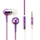 Aluminum Alloy Zipper in-Ear Earphones w/ Microphone for Iphone / HTC / Samsung + More