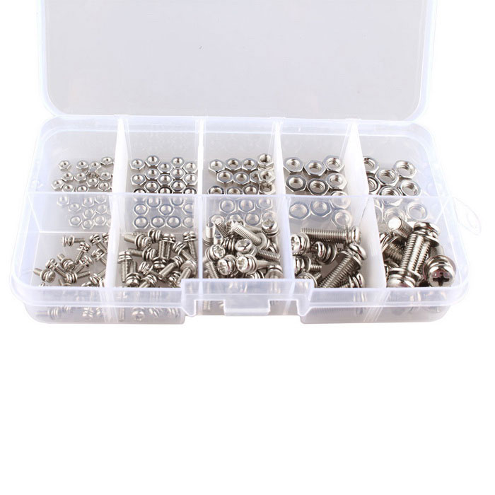 Hengjiaan M2 M2.5 M3 M4 M5 Screws + SEM Phillips Head Nuts (160pcs)