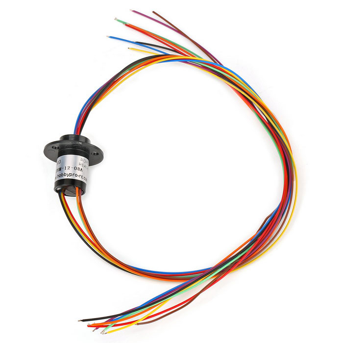 SRM-12-8A Miniature Slip Ring 8 Circuits 2A/Circuit - Black