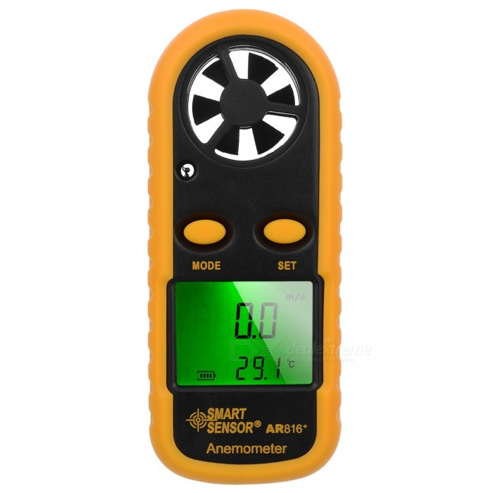 SMART SENSOR 1.5 LCD Digital Wind Speed Meter Anemometer ThermometerTesters &amp; Detectors<br>Form  ColorBlack + YellowModelAR816+Quantity1 DX.PCM.Model.AttributeModel.UnitMaterialABS + SiliconeScreen Size1.5 DX.PCM.Model.AttributeModel.UnitPowered ByOthers,CR2032 BatteryBattery Number1Battery included or notNoPacking List1 * Digital Anemometer1 * Strap1 * English user manual<br>