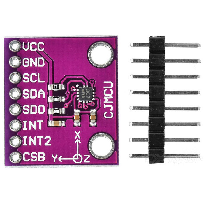 CJMCU-222E BMA222E Mini 3-Axis Acceleration Sensor Module - PurpleSensors<br>Form ColorPurpleModelCJMCU-222E BMA222EQuantity1 DX.PCM.Model.AttributeModel.UnitMaterialCopper clad laminate + componentsApplicationAcceleration sensor module development boardWorking Voltage   3.3 DX.PCM.Model.AttributeModel.UnitEnglish Manual / SpecYesDownload Link   http://pan.baidu.com/s/1gf2qAdlPacking List1 * Module<br>
