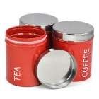 Stainless Steel Sugar Coffee Tea Canister Set - Red + Silver