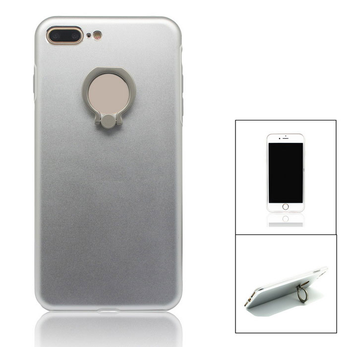 Aluminium Alloy Back Case w/ Holder Ring for IPHONE 7 PLUS - Silver