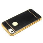 High-end Plating PU Leather Back Case for IPHONE 7 - Black