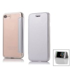Flip Open PU Leather Case w/ Stand / Card Slots for IPHONE 7 - Silver