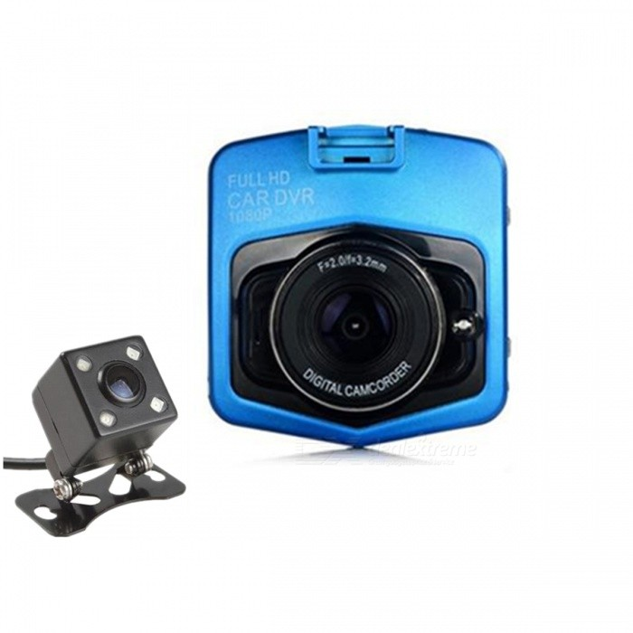 1080P Full HD CMOS 170' Wide-Angle Dual Lens Car DVR Camcorder - Blue