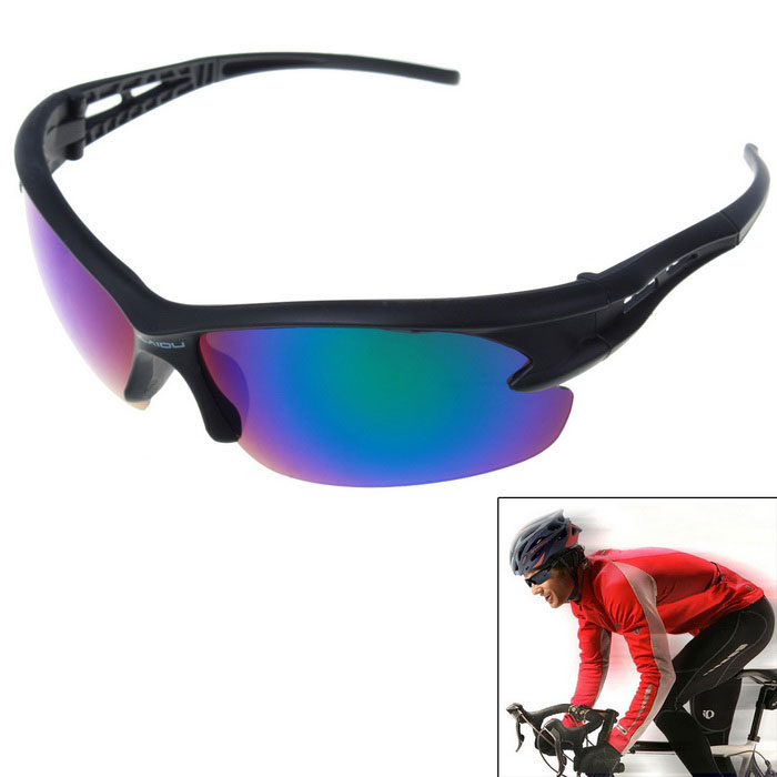 Men's Explosion-proof Outdoor Cycling Sunglasses - Black + Blue REVO