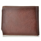 JIN BAO LAI 3-Fold Retro PU + Split Leather Hasp Open Wallet - Coffee