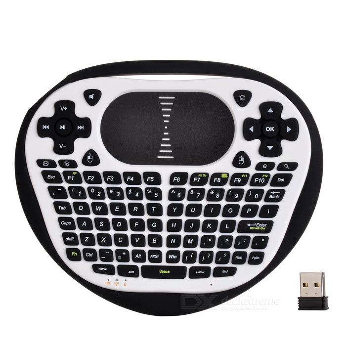 Mini Wireless Air Flying Keyboard Mouse w/ Touch Panel - Black + White