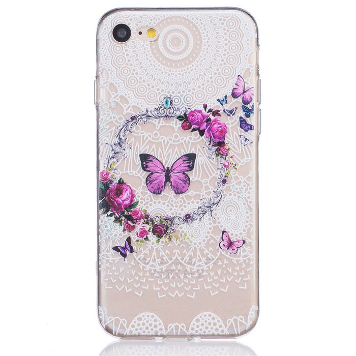 Butterfly Pattern TPU Protective Case for IPHONE 7 - Transparent