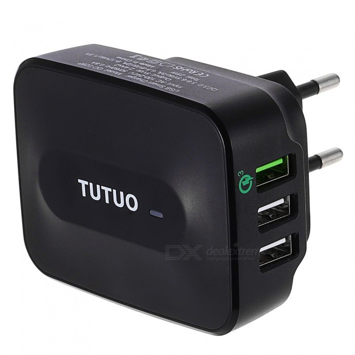 Tutuo 25W QC3.0 3-Port Universal USB Travel Quick Wall Fast ChargerAC Chargers<br>Form  ColorBlackModelQC-028PMaterialInflaming retarding plastic housingQuantity1 pieceCompatible ModelsSamsung Galaxy S7/S6/Edge,LG,Xiaomi,iPhone,Android &amp; moreInput VoltageAC 100-240V VOutput CurrentQC3.0: 3.6-6.5Vdc/3A, 6.5-9Vdc/2A, 9-12Vdc/1.5A AOutput Power25 WOutput VoltageDC 5 VPower AdapterEU PlugLED IndicatorYesCertificationCE, RoHSPacking List1 * USB Quick Charger<br>