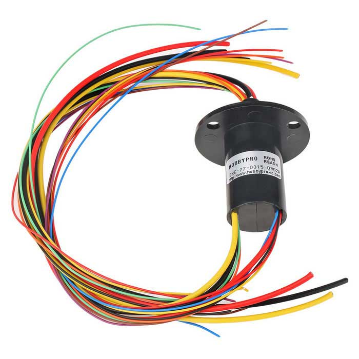 Mixed Slip Ring For Multi-channel 3Circuits15A and 8Circuits 2A -Black