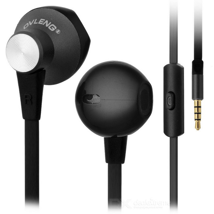Ovleng ip-380 Universal 3.5mm Plug Wired In-Ear Earphones - Black