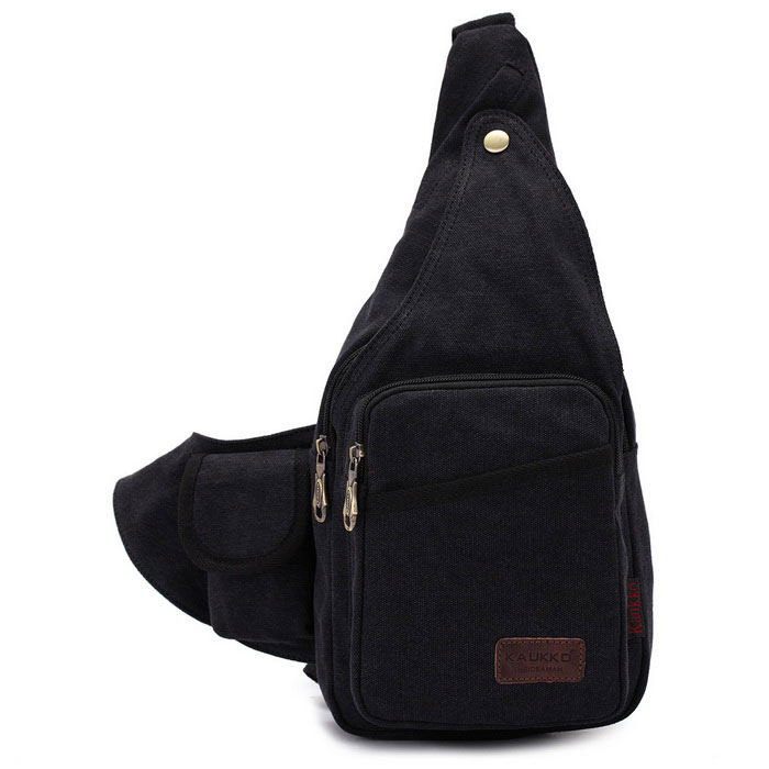 KAUKKO FJ51 Man's Vogue Canvas Sling Chest Pack Bag - Black