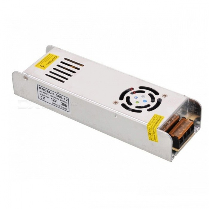 AC 220V to DC 12V 30A 360W Switching Power SupplySwitching Power Supply<br>Power360WForm  ColorSilverMaterialAluminum alloyQuantity1 pieceRated Current30 ARate Voltage12VWorking Temperature-40~+65 ?Working Humidity20% ~ 90% RH non condensingPower AdaptornoPower AdapterWithout Power AdapterProtectionOver-load protection,Over-voltage protection,Short protection,Over-temperature protectionCooling MethodNatural cooling,Fan cooling,Aluminum case coolingWater-proofNoCertificationCE, FCC, RoHSPacking List1 * Ultra-thin Switching power supply<br>