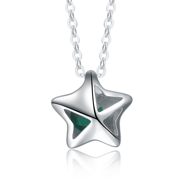 SILVERAGE Filigree Star with Green Crystal Pendant Necklace