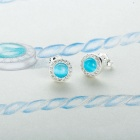 SILVERAGE Blue Stone Stud Earrings